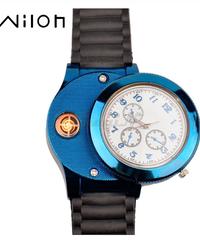 HUAYカジュアルスポーツ腕時計USBライターシリコーンストラップクォーツ時計