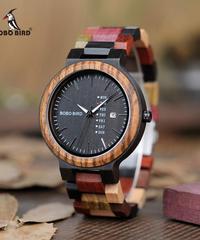 BOBO BIRD ラグジュアリーウッドメンズウォッチレロジオマスキュリーノデザイナーオートマチックデイトウォッチメンズクォーツ腕時計ファッション時計