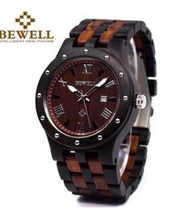 BEWELL 防水木材腕時計男性クォーツ時計木製バンドアナログダイヤルエレガント腕時計