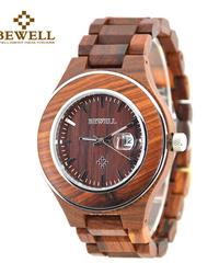 BEWELL メンズ腕時計木製腕時計手作り防水ビジネスクラシックレトロスタイル腕時計