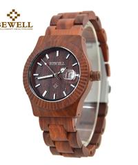 BEWELL 木製手作り腕時計アナログダイヤル防水自動日付機能付き