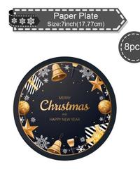 クリスマス2019 クリスマスデザイン パーティー皿 約18cm 8枚入り 使い捨て紙皿 パーティー食器  小皿