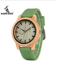 BOBO BIRD 女性ブランド竹メンズ腕時計シリコーンバンドクォーツ腕時計