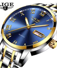 【全14色】 LIGE腕時計メンズファッションスポーツクォーツフルスチールゴールドビジネスメンズ腕時計トップブランドの高級防水ウォッチ