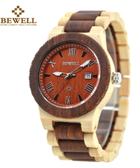 BEWELL 男性の軽量ユニークな木製腕時計クォーツムーブメントメンズ腕時計自動日付機能付き