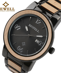 BEWELL 木製クォーツ腕時計ツートンカラーステンレス鋼ストラップ自動日付防水機能付き