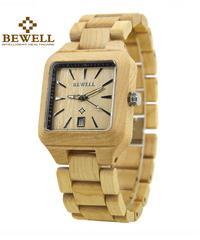BEWELL カジュアル木製腕時計クォーツメンズスクエア腕時計オートデイト機能