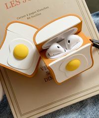 【食べものシリーズ】 AirPodsケースカバー AirPods第1/2世代専用充電ケースカバー 目玉焼き乗せ食パン保護ケース  朝食厚切りデザイン シリコーンケース