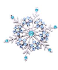 クリスマス2019  聖夜の新雪結晶型ブローチ ドレスコートジュエリー  安全ピン ギフトにも!
