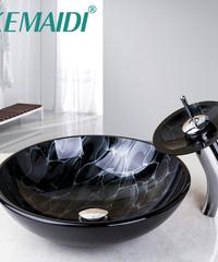 KEMAIDI 絵画芸術的なシンク洗面台カウンターガラスシンク蛇口シンクセット