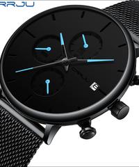 【全5色】 Crujuファッションウォッチ男性防水ファインメッシュストラップミニマリスト腕時計クォーツスポーツ時計用男性時計