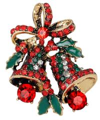 クリスマス2019  聖夜のジングルベル(双鐘)型ブローチ ドレスコートジュエリー ゴールド・シルバー 安全ピン ギフトにも!