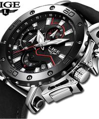 【全4色】 LIGE腕時計高級ブランドメンズアナログレザースポーツウォッチメンズアーミーミリタリーウォッチ男性デイトクォーツ時計