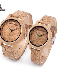 BOBO BIRD ウォッチバンブーウォッチコルクストラップクォーツ腕時計ファッション時計