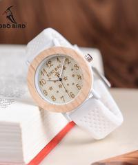 BOBO BIRD 女性木製時計ソフトシリコンバンド星空ファッションデザインレディースクォーツ腕時計