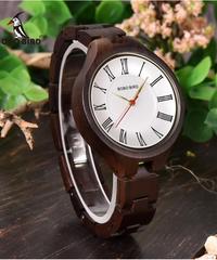 BOBO BIRD レディース木製時計ローマ数字手作りクォーツムーブメントウッド腕時計