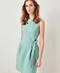 ヴィンテージ包帯夏ガウン女性2019夏ライトグリーンノースリーブハイウエストミニドレスエレガントオフィスレディースドレス 7336