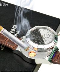 HUAY充電式USBライター時計電子メンズカジュアルクォーツ腕時計