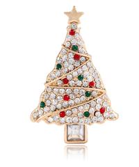 クリスマス2019  聖夜のホワイトツリー型ブローチ ドレスコートジュエリー  安全ピン ギフトにも!