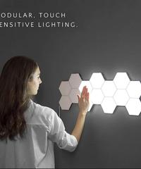量子光ledモザイク六角形ライトモジュラータッチセンサーライト磁気六角形クリエイティブ装飾ウォールランプ 4ピース入り