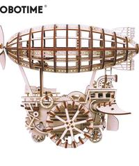 ROBOTIME 飛行船 騎空挺 木製プラモデル 乗り物 接着剤不要 3Dパズル Diy飛行船 知育玩具 大人新趣味 ギフト クリスマスプレゼント