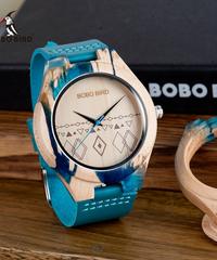 BOBO BIRD メンズウォッチウッド&レジンケースレザークォーツ時計