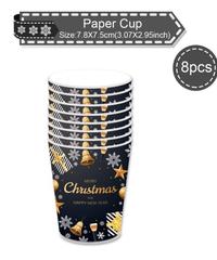 クリスマス2019 クリスマスデザイン パーティーコップ 約200㎖ 8個入り 使い捨て紙コップ パーティー食器