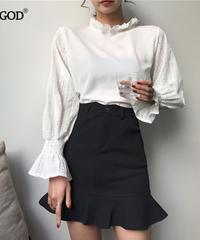Rugod 2019韓国のファッション夏の女性帝国ウエストソリッドスカートフリルAラインスカートスリム女性カジュアルな女性プレッピースタイル 5261