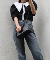 #253 変形アシメ デザインシャツ / ブラック