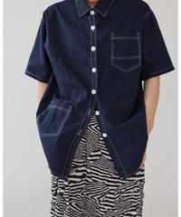 アシメポケットステッチシャツ/ネイビー