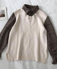 #143 チェックシャツベスト/  ホワイト