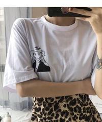 #22 monotone Girl T-shirt 【 white 】