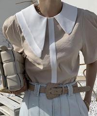 #253 変形アシメ デザインシャツ / ベージュ