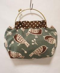 【口金バッグ】小鳥スモーキー