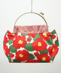 【口金バッグ】赤椿✕赤市松