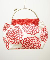 【口金バッグ】白地に赤花✕赤ドット