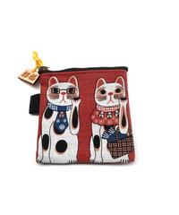 『大須まねき猫・財布』 メガネ猫 赤