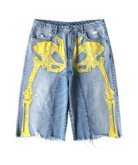 MAISON EMERALD / washed denim paisley bone shorts