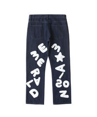 MAISON EMERALD / loose straight jeans with embroidered letters