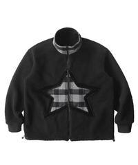 MAISON EMERALD / stand-up collar star stitching boa coat