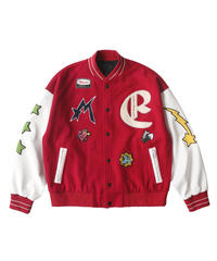 MAISON EMERALD / star embroidery baseball jacket