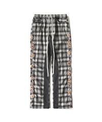 MAISON EMERALD / check panelling gemstone pants