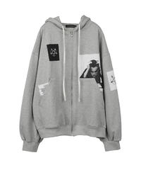 SUNDAYOFFCLUB / total eclipse patch hoodie grey