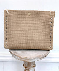 "KNIT BAG  "" M ""  SAND BEIGE"