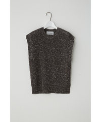 COTTON MIX KNIT BEST / CHARCOAL x IVORY