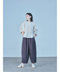 LINEN BALLOON PANTS  / CHARCOAL