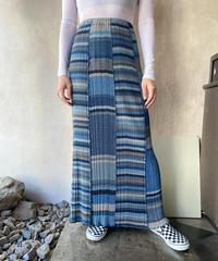 ブラウンブルーマルチストライプ細プリーツスカート