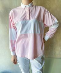 ピンク白ラガーシャツ