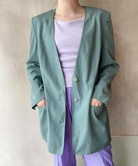 グレーグリーンノーカラージャケット