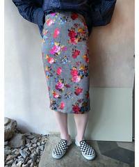グレンチェック花柄タイトスカート